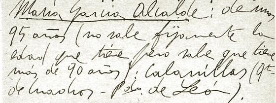 María García Alcalde (22-VIII-1917) lista de las versiones que dijo. 1